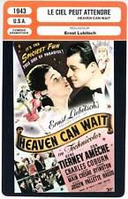 LE CIEL PEUT ATTENDRE - Tierney,Lubitsch (Fiche Cinéma) 1943 - Heaven Can Wait