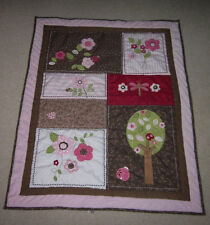 Just Born Pink & Brown Flower Tree Baby Quilt Blanket