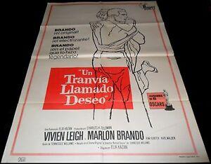 1963 A Streetcar Named Desire ORIGINAL SPAIN POSTER Marlon Brando Vivien Leigh