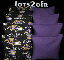 Cornhole Bean Bags w Baltimore Ravens fabric on both sides of logo bags New!