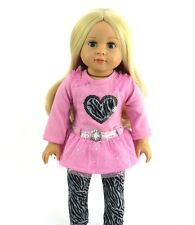 "Zebra Sequin Pant Set Fits 18"" American Girl Doll Clothes"
