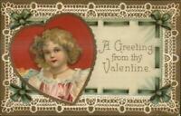 Valentine - Little Girl Pretty Border Unsigned Clapsaddle? c1910 Postcard
