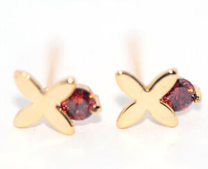 Small Stud Earrings Red Ruby Gold Cross Jewelry Little Girls Childrens Jewelry