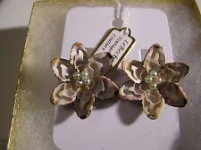 Vintage Brown & Beige Shell Clip-on Earrings