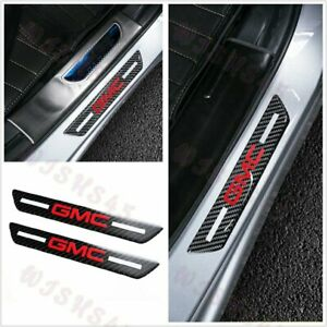 For GMC Carbon Car Rear Door Welcome Plate Sill Door Scuff Cover Panel Sticker