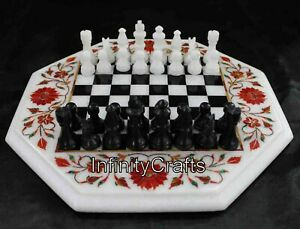15 Inches Marble Corner Table Top White Coffee Cum Chess Table Perfect for Kides