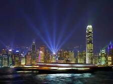 HONG KONG HARBOUR LIGHTS CITYSCAPE PHOTO ART PRINT POSTER PICTURE BMP1186A