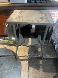 VTG Mid Century Modern Brown Drop Leaf Rolling Typewriter Stand Table cart