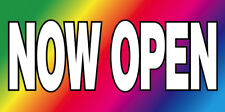 20x48 Inch Now Open Vinyl Banner Sign - Rainbow