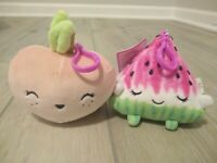 2x New Adorable Squishmallows Scented Watermelon and Peach Clips on soft Plush