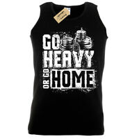 GO HEAVY OR GO HOME Mens Tank Top weight lifting gym vest training bodybuilding