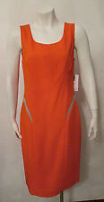$1875 VERSACE cocktail dress signal-orange paneled crepe bodycon fitted 42 NWT