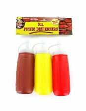 Plastic Condiment Dispenser Squeeze Bottle Set For Camping Ketchup Mustard & BBQ