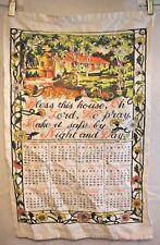Vintage Calendar Towel Dish Kitchen Tea Towel 1972