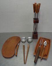 mid century design 60s Teak Schneidebrett Messer Salatbesteck Holz Schale Spieße