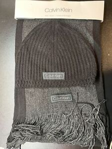 Nwt Calvin Klein Hat And Scarf Set Beanie And Scarf Black/Gray Brand New