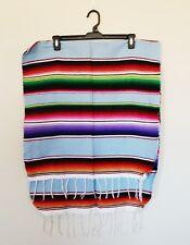 Mexican Falsa Blanket Small Sarape Yoga Mat Light Blue Aztec Striped Design