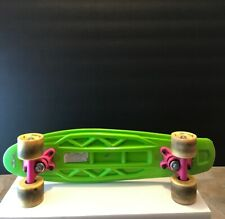 """Maui and Sons Board 22"""" Skateboard Plastic Penny Neon Green Yellow wheels Pink"""
