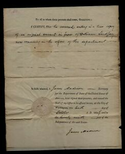 1804 Washington DC Military Land Document Signed by JAMES MADISON as Sec State !