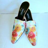 VANELI Kitten Heel Mule Pointed Toe Slip On Shoe Heel Spring Floral Size 8.5 N
