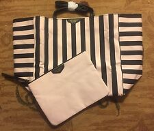 NEW Victoria's Secret Striped Tote & Bonus Pouch Getaway Weekend Tote