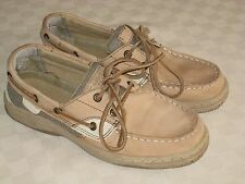 SPERRY TOP SIDER YOUTH GIRLS BEIGE LEATHER LOAFERS SHOES SIZE 3.5 M GREAT