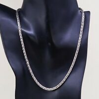 """18"""" 4mm, Vtg 925 Sterling Silver heavy solid wheat chain necklace"""