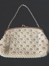 Vintage Cream Silve Pearl Effect Evening Bag Silver Chain Handle Clasp Beads 50s