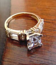 14K Solid Gold Princess Cut Man Made Diamond Engagement Ring All size available
