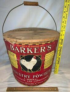 ANTIQUE 25# BARKERS POULTRY POWDER CHICKEN FARM VET MEDICINE WOOD BUCKET DISPLAY