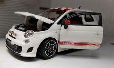 1:24 G Echelle Blanc Fiat 500 Abarth 2008 Burago Voiture Miniature Noir Alloys
