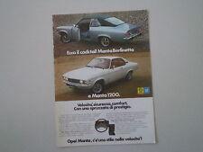 advertising Pubblicità 1973 OPEL MANTA BERLINETTA/1200