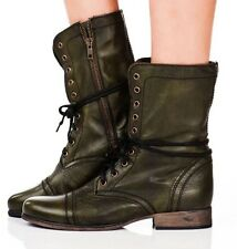 STEVE MADDEN TROOPA DARK GREEN LEATHER ANKLE BOOT SIZE 7.5