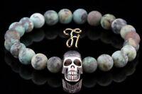 Afrik. Türkis grün Armband Bracelet Perlenarmband silberfarbener Totenkopf Skull