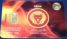 Goldbarren 1/2 Gramm 999,9 Gold Sternzeichen Löwe lion Zertifikat Oro Or Aurum