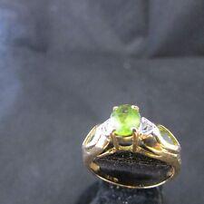 14K 14Kt  ring Yellow Gold peridot with diamond accents Ring style sz 6 euc qvc
