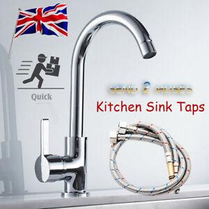 Modern Kitchen  Sink Mixer Taps Swivel Spout Single Lever Tap Mono Chrome Faucet