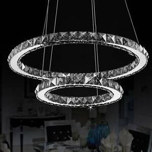 Modern 48W Led Crystal Pendant Light 2 Ring Chandelier Lamp Ceiling Light Shade