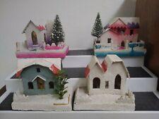"Vintage Putz Christmas Village House Mica Glitter Four (4) Japanese 4"" Tall"