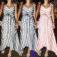 UK Womens Ladies Summer Beach Midi Dress Holiday Strappy Swing Sun Dresses 8-26