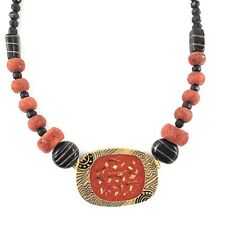 """Chicos Statement Necklace Red Black Gold Asian Boho Carved Signed 21"""" Total"""