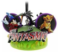 Disney Parks Fantasmic Mickey Ear Hat Christmas Ornament Maleficent Simba - NEW