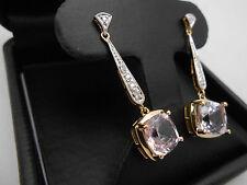 Gorgeous 14k Solid Yellow Gold Stunning Natural Pink Kunzite & Diamond Earrings
