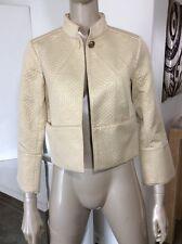 Diane Von Furstenberg DVF Cropped Asian Kimono Jacket Gold Lame Silk Blend Sz 8