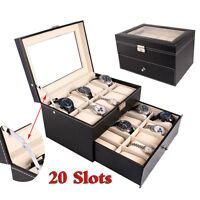 Large 20 Slot Leather Watch Box Display Case Organizer Glass Top Jewelry Storage
