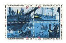 BOSTON TEA PARTY STAMPS  ~  U.S. Bicentennial Era 8¢ Stamp Block Set  MNH  MINT