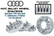 "4 Audi VolksWagen 5x100 To 5x100 1"" 25 MM Wheel Spacers 57.1 W/ 14x1.5 Lug Bolts"