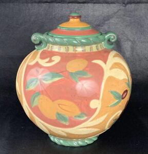 "Pamela Glassing Cert Int'l Canister Vase Lid Brown Green Cherries 10.75""T 9.5""W"