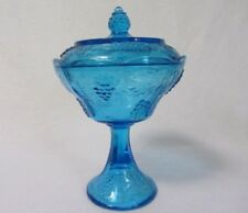 INDIANA GLASS HARVEST GRAPE BLUE COVERED LARGE COMPOTE SCALLOPED EDGE