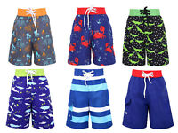 Kids Boys Swim Trunks Drawstring Elastic Waist Surfing Beach Board Shorts